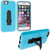 Baby Blue / Black Hybrid Heavy Duty Hard/Soft Case Cover with Stand for Apple iPhone 6 6S (4.7)
