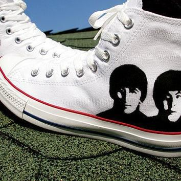 SALE 20 percent off - The Beatles Converse shoes - hand painted