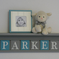 """Turquoise and Gray Name Shelves Customized for PARKER - 24"""" Grey Shelf - 6 Letter Blocks in Teal and Gray, Awesome Baby Girl Nursery Decor"""