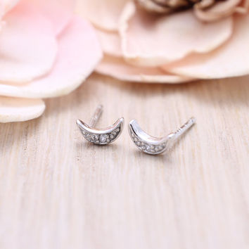 925 sterling silver OK sign stud earrings with pave cz