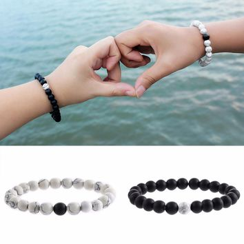 Best Friend Jewelry - BFF - Friendship - Natural Stone White Black Yin Yang Beaded Bracelets