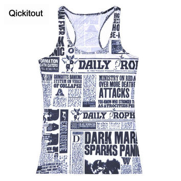 Summer Women Blouses Strapless Sleeveless Digital Print Casual News Newspapers Words Tank Top