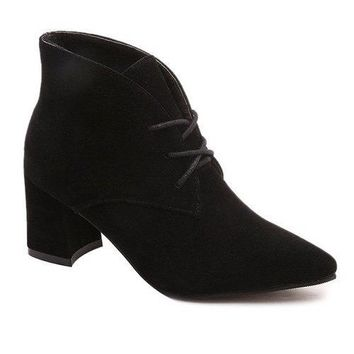 Tie Up Chunky Heel Pointed Toe Suede Ankle Boots - Black 37