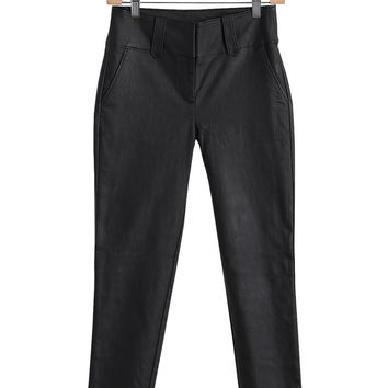 Vegan Leather Cropped Ankle Pants-FINAL SALE