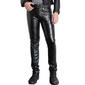 Black Tights Motorcycle Trousers Autumn Winter Clothing Slim Fit Casaul Track Joggers For Mens Faux Leather Pants Men Skinny