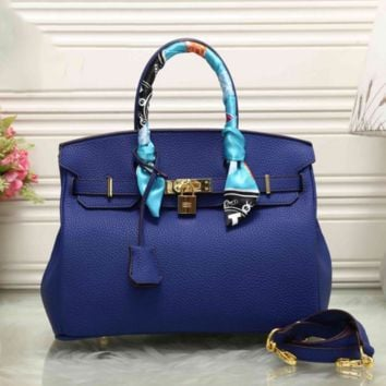 HERMES Women Shopping Leather Crossbody Satchel Shoulder Bag Blue I-MYJSY-BB