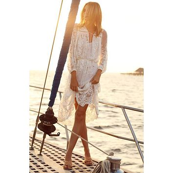 Fashion Solid Color Perspective Gauze Lace V-Neck Hollow Long Sleeve Dress