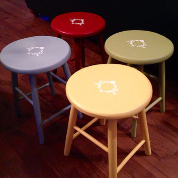 Vintage Wood Stools Hand Painted and Stenciled