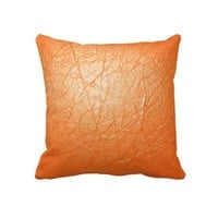 Bright Orange Leather Texture Throw Pillows