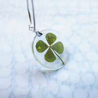 Four Leaf Clover Necklace Lucky Charm St by NaturalPrettyThings