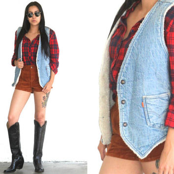 Vintage 70s LEVI'S Denim SHERPA Orange Tag Vest // Light Medium Wash Jean // Hipster Boho Hippie // XS Extra Small / Small / Medium
