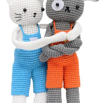 Cat and Dog Handmade Amigurumi Stuffed Toy Knit Crochet Doll VAC