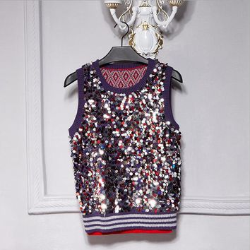 Brand fashion women's high-end luxury sequins knitted vest tank tops