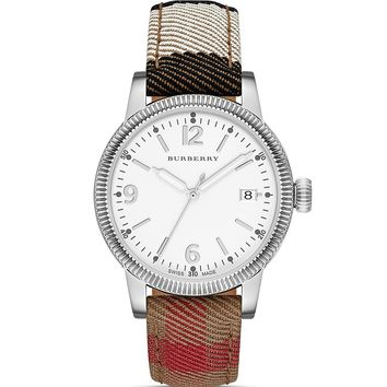 Burberry The Utilitarian House Check Strap Watch, 38mm | Bloomingdale's
