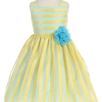 Yellow & Blue Striped Girls Easter Dress w. Contrast Lining 2-12
