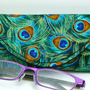 Fabric Eyeglass Case Magnetic Closure Peacock Feathers