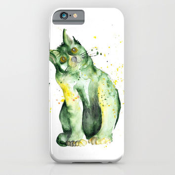 Green Cat iPhone & iPod Case by MIKART