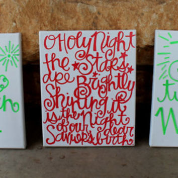 Christmas Paintings Trio // Joy to the World // Holy Night // Hark the Herald Angels Sing // 8x10 inches // red, green and silver