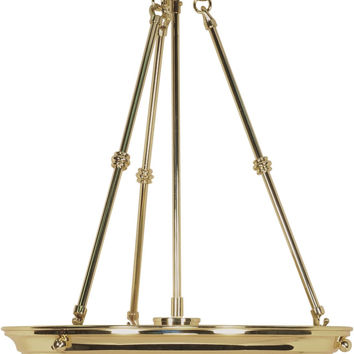 "15"" Hanging Pendant Light Fixture in Polished Brass Finish"