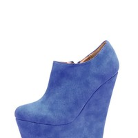 Mae Blue Suedette Wedges