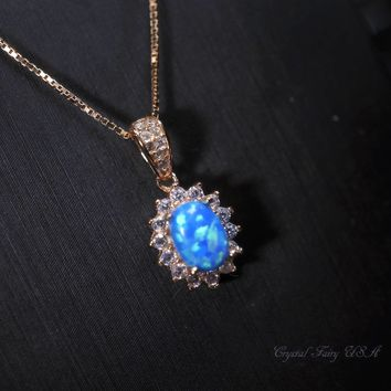 Tiny Blue Opal Necklace Sterling Silver, Rose Gold Over Sterling Silver Dainty Blue Opal Jewelry, Solitaire Halo CZ Stone Pendant