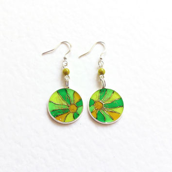Hand painted Earrings Sunshine. yellow lime green mosaic gift for her