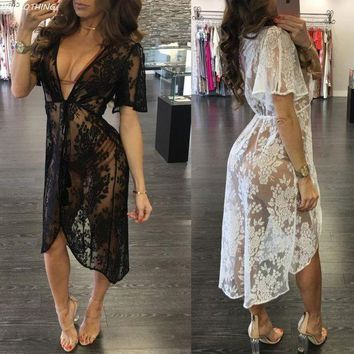 PEAPGC3 BAICLOTHING See through Swimsuit Cover Up 2017 Women Sexy lace Dress Solid Beach Cardigan Bathing Suit Cover Up
