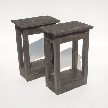 Handmade Black Wooden Bedside Tables. Reclaimed Pallet Wood. Rustic & Shabby Chic Table For The Home, Living Room Or Bedroom