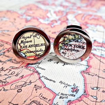 World Map Cufflinks Any Country or City