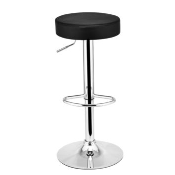 1 PC Bar Stool Round Leather Seat Chrome Leg Adjustable Hydraulic Swivel Black