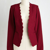 Short Length Long Sleeve Detour to Dashing Blazer in Burgundy