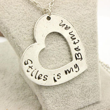 Teen Wolf Stiles is my Batman Antique Silver Heart Pendant Necklace,the Hand Writting Letter Necklaces Free Shipping Hot Sale