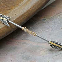 Feather Beaded Industrial Barbell