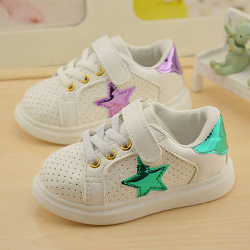 2017 autumn children's casual sports running mirror pentagram brand star with boys and girls sport sneakers toddler boys shoes k
