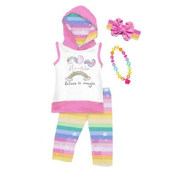 Unicorn Believe In Magic Outfit Stripe Hoodie And Pants