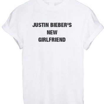 JUSTIN BIEBER NEW GIRLFRIEND SASSY CUTE LADY BELIEBER WOMEN T SHIRT TOP TEE NEW - WHITE