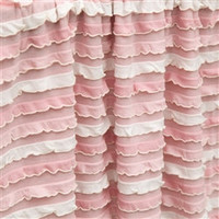 Custom Ruffled Curtain Panel, Pink and Cream Mini Ruffles, or You pick the Color, 84 Inches