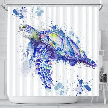 Watercolor Sea Turtle Shower Curtains