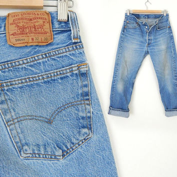 Vintage 90s Distressed Levi's 501 Button Fly Men's Jeans - Beat Up Denim Straight Leg Boyfriend Jeans - Size 30 Waist 27 Inseam