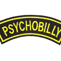 "PSYCHOBILLY Rockabilly Iron On Sew On Embroidered Patch 4.2""/11cm"