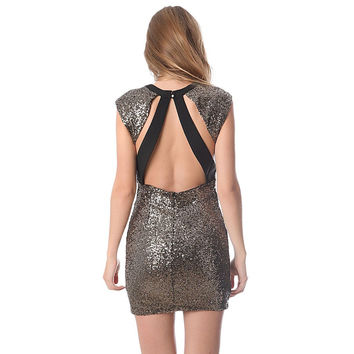 Q2 STORE Golden Sequin Bodycon Dress with Open Back