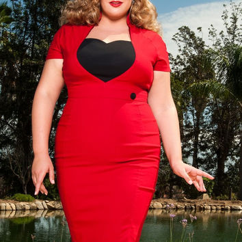 Pinup Couture Plus Size Veronica Dress in Red