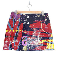 Vintage 90s Vegan Pop Art Mini Skirt - Size 5 / 6 - Women's Bodycon Graffiti Print Hip Hop Style Blue Red Yellow Alligator Textured Skirt