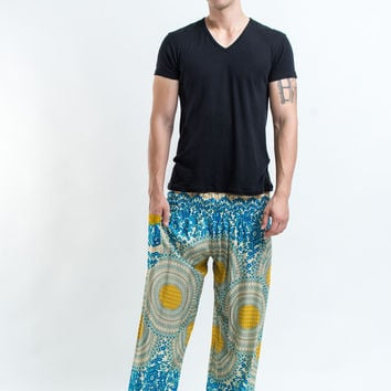 Geometric Mandalas Men's Harem Pants in Blue Gold