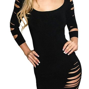 Streetstyle  Casual Women's Black Hollow-out Scoop Neck Long Sleeve Bodycon Club Dress
