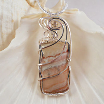 Wire Wrapped Stone, Handmade Pendant Jewelry, Crazy Lace Plume Agate