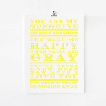 You Are My Sunshine Nursery Rhyme, Children's Art Print, kids wall art