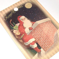 Santa Caught On The Rooftop Christmas Gift Tags Vintage Inspired Set of 6