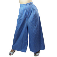 1930s to 1940s Wide Leg Blue and White Checkerboard Weave Lounging Trousers Large