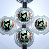 A121 - Personalized Mint Cats and Flowers Stethoscope Tag